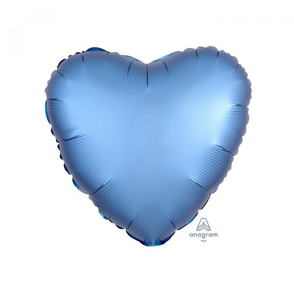 """18"""" Heart Satin Luxe Blue Azure"""
