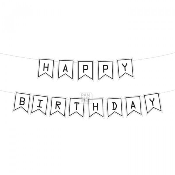 Monochrome Birthday Paper Bunting