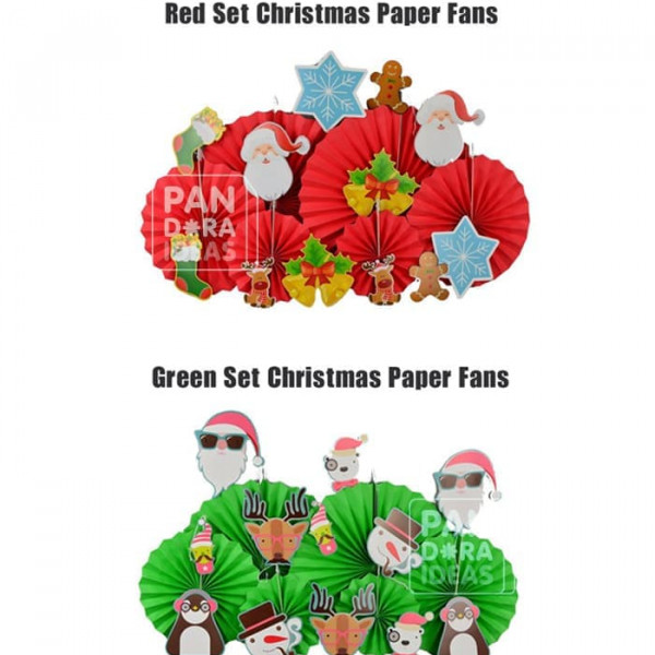 Red Set Christmas Paper Fan