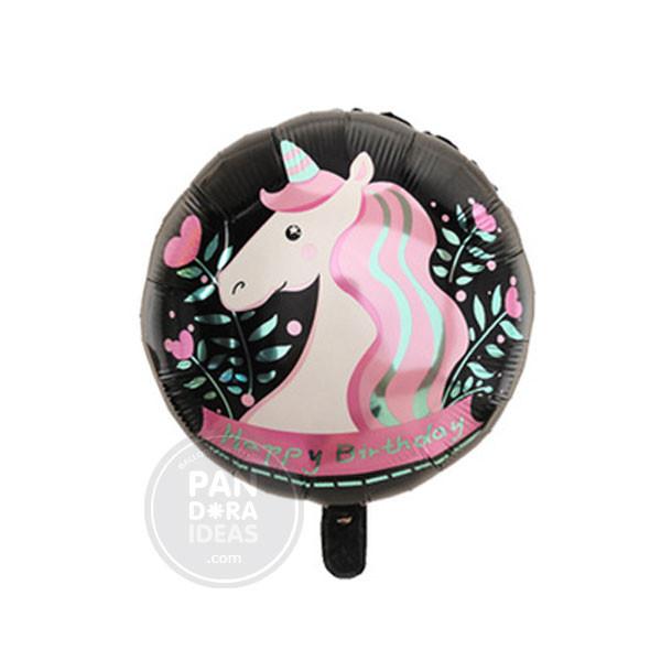 """18"""" Rnd Black Happy Birthday Unicorn"""