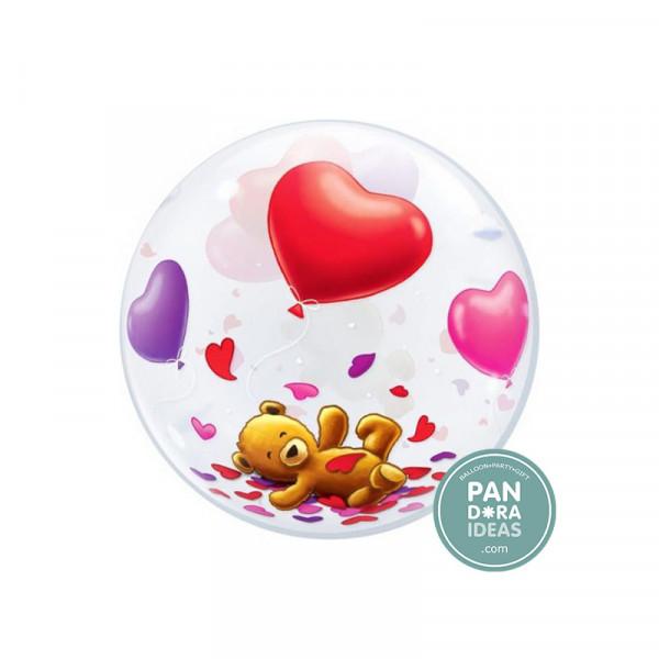 """22"""" Teddy Bear's Floating Heart Deco Bubble"""
