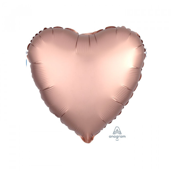 """18"""" Heart Satin Luxe Rose Copper"""