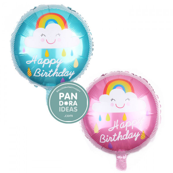 "18"" Rnd Pink Happy Birthday Cloud Rainbow"