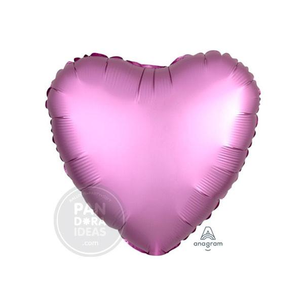 "18"" Heart Satin Luxe Pink Flamingo"