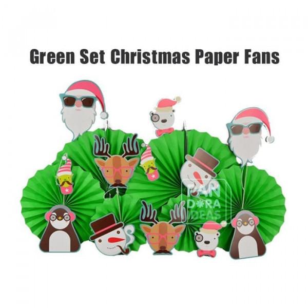 Green Set Christmas Paper Fan