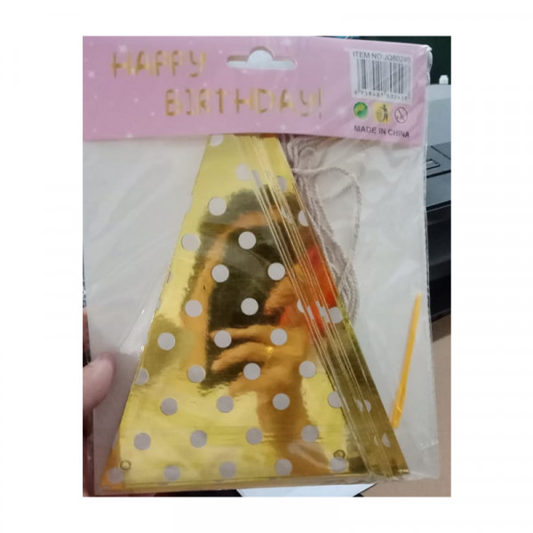 Gold Triangle Polkadot Bunting Flag