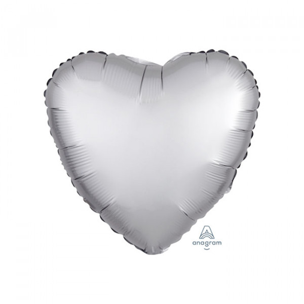 "18"" Heart Satin Luxe Platinum Silver"