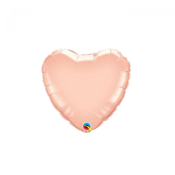 """18"""" Q Heart Rose Gold"""