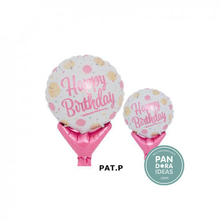 Upright Happy Bday Gold & Pink Dots Balloon