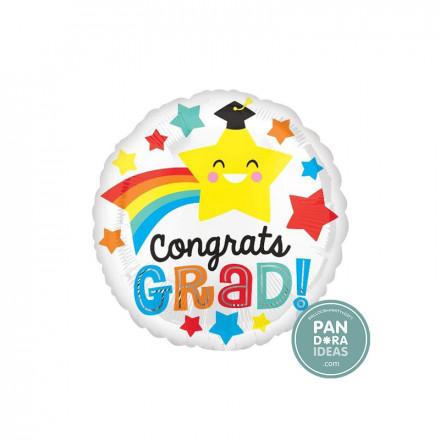 "17"" Round Congrats Grad Rainbow Foil Balloon"