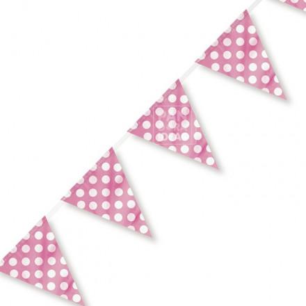 Pink Polkadot Bunting Flag