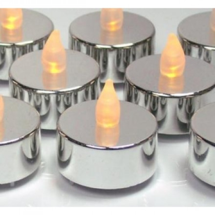 Small Silver LED Candle