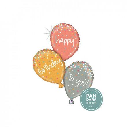 """40"""" Glitter Rose Gold Birthday Foil Balloon"""