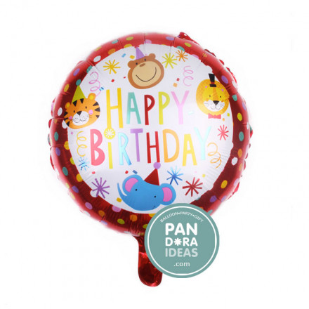 "18"" Rnd Happy Birthday Red Animals Circus"