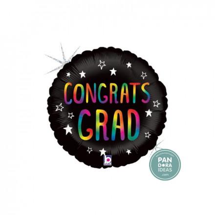 """18"""" Black Rainbow Congrats Grad Foil Balloon"""