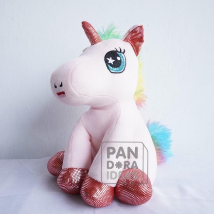 Purple Sitting Unicorn Licrain Doll 9""