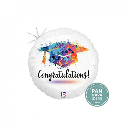 "18"" Painterly Grad Congrats Foil Balloon"