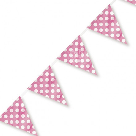 Pink Polka Paper Bunting Flag