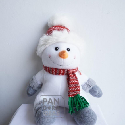 """Snowman Sitting Christmas With LED 10"""""""
