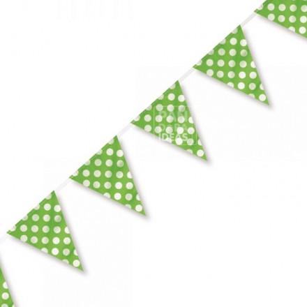 Green Polkadot Bunting Flag